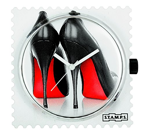 S.T.A.M.P.S. Stamps Uhr komplett - Zifferblatt High Heels mit rotem Lederarmband, Glossy red in Einer Schmuckschachtel