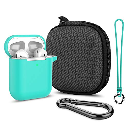 Airpods Case, Music tracker Thicken Protective Airpods 2 Cover Soft Silicone Earbuds Case [Front LED Visible] with Carabiner/Anti-Lost Lanyard/EVA Storage Bag for Apple Airpods Gen 2 (Green)