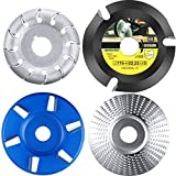 4 Pieces Angle Grinder Wood Carving Disc Shaping Disc 6 Teeth and 12 Teeth Wood Carving Disc Angle Grinder Attachments Grinder Tools for Wood Cutting Polishing Shaping