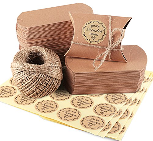 100 Piezas Bolsas de Regalo, de Papel Kraft Marrón Almohada Cajas de Regalo con Cuerda de Yute 60M, 100 Piezas regalo adhesivo Pegatinas, Bolsa para Boda Dulces