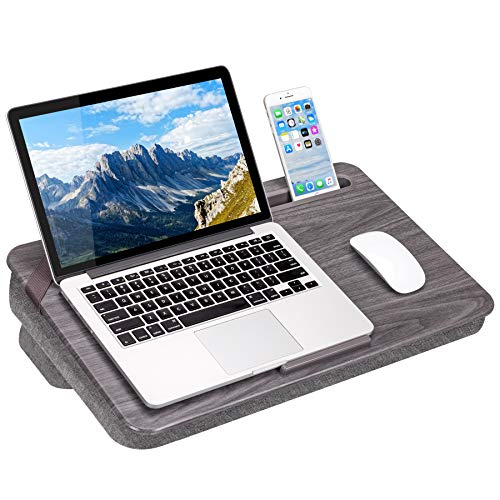 LapGear Elevation Lap Desk with Booster Cushion -Gray Woodgrain - Fits up to 17.3 Inch Laptops - Style No. 87965