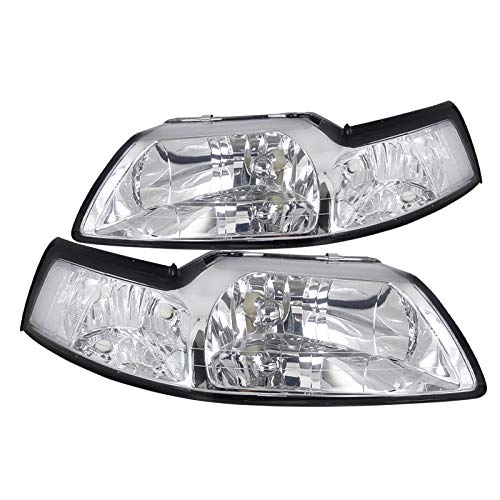 Spec-D Tuning Clear Headlights Corner Lamps W/Clear Reflector for 1999-2004 Ford Mustang Head Light Assembly Left + Right Pair