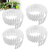 4 Pack 35 Inch Long Miniature Fairy Garden Fence,Wood Picket Fence Mini Decorative Fence Ornament...