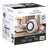 3 in 1 personal ceramic heater with removable magnetic hand warmer (white)