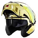 Modular Full Face Motorcycle Helmet DOT Approved by NENKI Motorbike Street Bike Flip up with Dual Visor Sun Shield for Adult, Men and Women NK-815 (XL, Chrome Gold)
