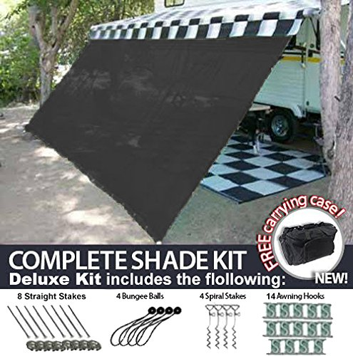 RV Awning Shade Motorhome Patio Sun Screen Complete Deluxe Kit...