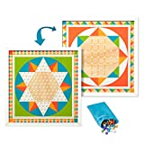"""Melissa & Doug Double-Sided Wooden Solitaire & Chinese Checkers Board Game with 60 Gamepiece (17.5"""" W X 17.5"""" L X 1.5"""" D)"""