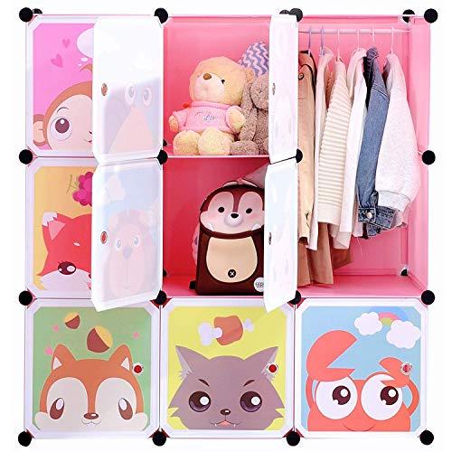 BRIAN & DANY Armadio Modulare Bambini, Portatile Guardaroba, Armadietto in Moduli Plastici, Rosa, 110 x 47 x 110 cm