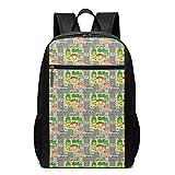 AOOEDM Bolsa para la Escuela Backpack 17 Inch Mochila para portátil Escolar de 17 Pulgadas, Escena de un Animado vecindario Urbano, Estilo de Dibujos Animados, Mochila Informal para Negocios/univer