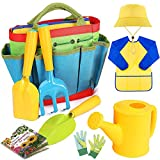 【UPGRADED Gardening Tools Set for Kids】 -New Version, total 9 pieces. We've added a hat to protect from sun and a gardening guide book to teach your kids learn about vegtables and nature. The original garden tool kit includes kid-sized hand trowel, s...