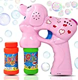 Haktoys Pink Puppy Bubble Shooter Gun | Ready to Play Light Up Blower with LED Flashing Lights, Extra Refill Bottle, Dog Bubble Blaster Toy for Toddlers, Kids, Parties (Sound-Free, Batteries Included) (Toy)
