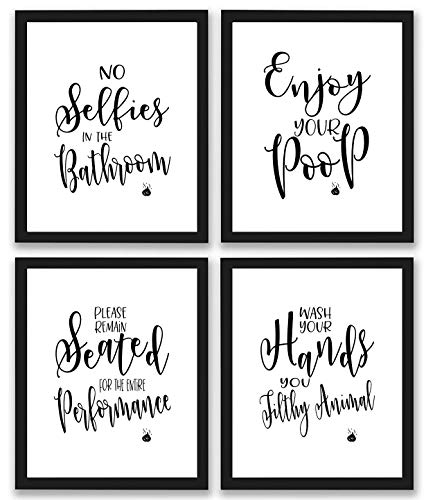 Bathroom Quotes and Sayings Art Prints | Set of Four Photos 8x10...