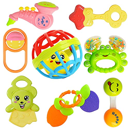 WISHKEY Colorful Attractive Plastic Non Toxic Set of 7 Shake & Grab Rattle and 1 Soothing Teether...