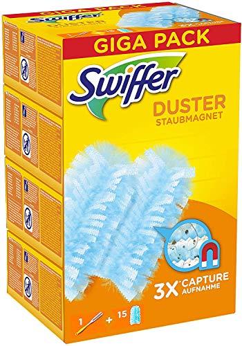Swiffer Duster Starter Kit Piumino Catturapolvere Pi Ricambi, 1 Manico e 15 Piumini, Catturano e...