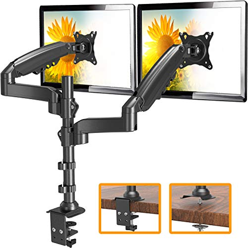 """ErGear 17""""-32"""" Dual Monitor Desk Mount Stand Kit, Full Motion Gas Spring Arms with Clamp On/Grommet Mounting Base, Holds Two Computer Screens up to 19.84 lbs/Arm with 75/100mm VESA, Black"""