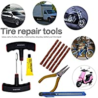 Complete Kit for Tubeless Tyre Puncture Repair. A great companion for you bikes, scooters and car. Good quality nose plier to remove nail from tire. Rubber cement (for joints) Kit includes a Cutter ( For cutting extra rubber) Includes extra puncture ...