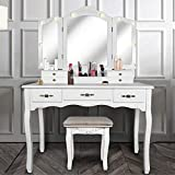 Vanity Beauty Station,Tri-Folding Mirrors,6 Organization 7 Drawers Makeup Dress Table with Cushioned Stool-White