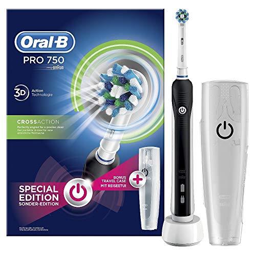 Oral-B PRO 750 CrossAction Spazzolino Elettrico Ricaricabile, Bonus Pack