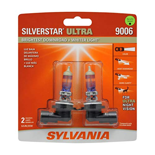 SYLVANIA - 9006 SilverStar Ultra - High Performance Halogen Headlight Bulb, High Beam, Low Beam and Fog Replacement Bulb, Brightest Downroad with Whiter Light, Tri-Band Technology (Contains 2 Bulbs)