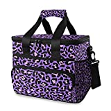 MNSRUU Cooler Bag Neon Purple And Pink Leopard Insulated Lunch Totes Picnic Bag Container with Adjustable Shoulder Strap