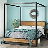 ZINUS Suzanne Metal and Wood Canopy Platform Bed Frame / No Box Spring Needed / Wood Slat Mattress Support / Easy Assembly, Queen