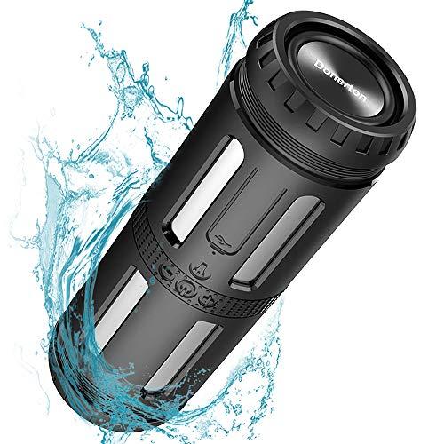 Bluetooth Lautsprecher Wasserdicht, 30 Stunden Spielzeit, Starkem Bass Outdoor Lautsprecher mit LED Light, 5200 mAh Power Bank und Eingebauten Mikrofo fur Bergsteigen fur Camping, Reisen, Wandern