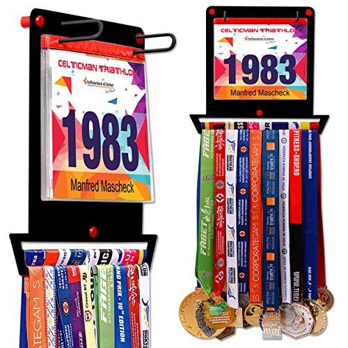 VICTORY HANGERS Medal Hanger for Runners | My Victories Race Bib Holder + Medal Rack | Complete Bundle Steel Medal Holder and Bib Hanger for 40+ Medals & 100 Runner Race Bibs (Square Black)