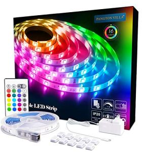 PANGTON VILLA LED Strip Lights 16.4ft RGB 5050LEDs Color Changing Full Kit with 24key Remote Control and Power Supply Mood Lamp for Room Bedroom Home Kitchen Indoor Decorations