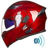 ILM Bluetooth Motorcycle Helmet Modular Flip up Full Face Dual Visor Mp3 Intercom FM Radio DOT Approved (Red, XL)