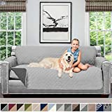 Sofa Shield Original Patent Pending Reversible Large Sofa Protector for Seat Width up to 70 Inch, Furniture Slipcover, 2 Inch Strap, Couch Slip Cover Throw for Pets, Cats, Sofa, Light Gray Charcoal