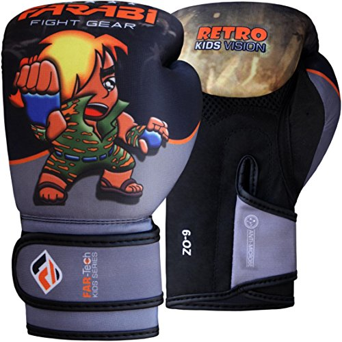 Farabi Retro Serie Junior Warrior - Guantoni da boxe per bambini, Grigio/Nero, 4 oz / 113,4 g
