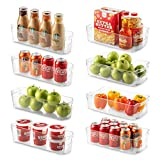 Set Of 8 Refrigerator Organizer Bins - 4 Large and 4 Small Stackable Fridge Organizers for Freezer,...