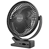 OPOLAR 10000mAh 8-Inch Rechargeable Battery Operated Clip on Fan, 4 Speeds Fast Air Circulating USB Fan, Sturdy Clamp Portable for Outdoor Camper Golf Cart or Indoor Gym Treadmill Personal Office Desk