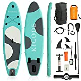 Kicode Inflatable Paddle Board for Adults (6 Inches Thick) Premium Stand Up SUP Accessories & Carry Bag, Waterproof Bag, Non-Slip Deck, Leash, Pump, Waterproof Phone Pouch, Green & Dark Gray