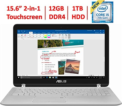 "2018 Asus 360 Flip 2-in-1 15.6"" FHD IPS Touchscreen Laptop, Intel Core i5-7200U up to 3.1GHz, 12GB DDR4, 1TB HDD, 802.11ac, Bluetooth, Webcam, HDMI, Type-C USB, Backlit Keyboard"