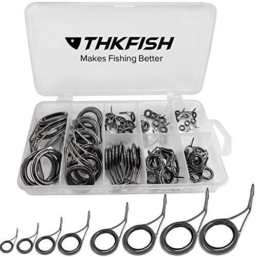 THKFISH Canne da Pesca Anelli Canna da Pesca Ceramica Acciaio Inossidabile Carbonio Guide per Spinning Canna 75pezzi