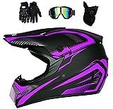 LOOSE Motorcycle Helmets Adult Motocross Helmet MX Off Road Helmet Scooter ATV Helmet DOT Certified Multicolor with Goggles/Gloves/Mask,Purple,M