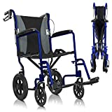 Vive Mobility Folding Transport Wheelchair - Aluminum Chair with Hand Brake - Lightweight, Foldable, Travel Manual Mobility Aid - Ultralight Comfortable 19 Inch Wide Bariatric Handicap Seat (Blue)