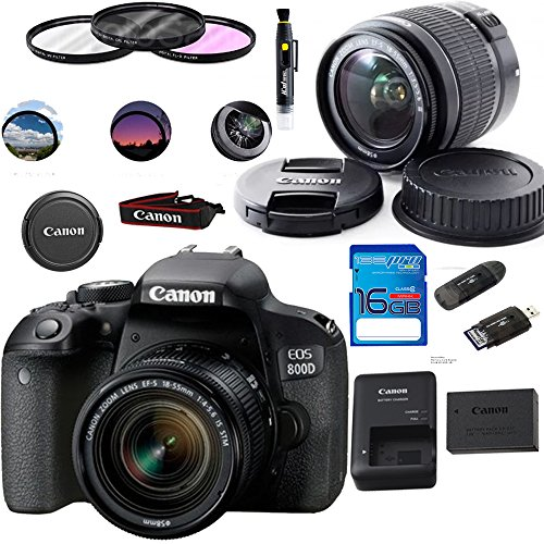 Canon EOS 800D / Rebel T7i Digital SLR Camera with 18-55 is STM Lens Black - Deal-Expo Essential Accessories Bundle