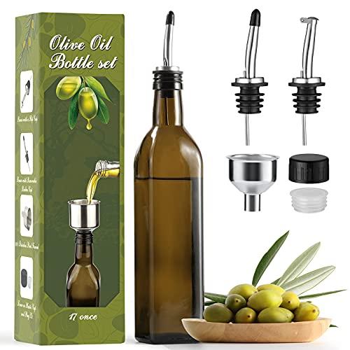 Aozita 17oz Glass Olive Oil Bottle - 500ml Dark Brown Oil & Vinegar Cruet with Pourers and Funnel - Olive Oil Carafe Decanter for Kitchen
