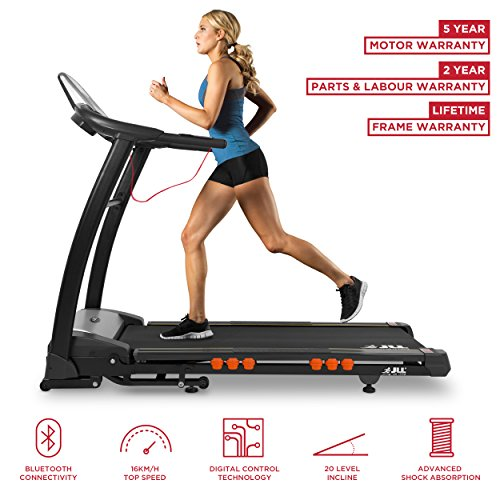 JLL S400+ Folding Treadmill, 2020 New Generation Digital Control 4.5HP Motor, LCD Display, 20 Level Incline, 15 Programmes, Speakers, Bluetooth, USB & AUX, 16 Point Cushion Deck, Large Running Area