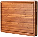 Bamboo Wood Cutting Board for Kitchen, Cheese Chopping Board, Butcher Block, 1.2' Thick with Hidden Side Handles and Juice Grooves