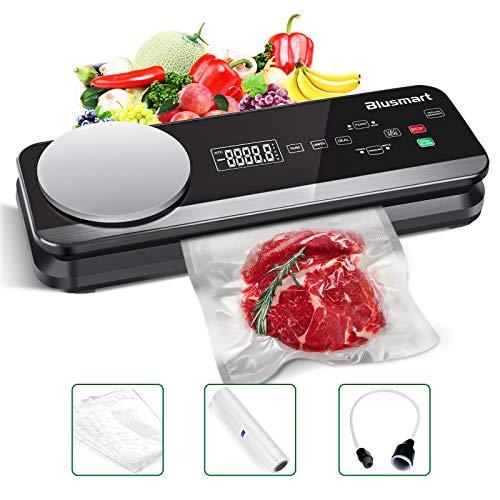Macchina Sottovuoto per Alimenti Automatica Blusmart 80Kpa Macchina Sigillatrici con bilance da cucina integrate e display LCD, Macchina per Sottovuoto sia secchi che umidi inclusi 1 Tubo Accessorio