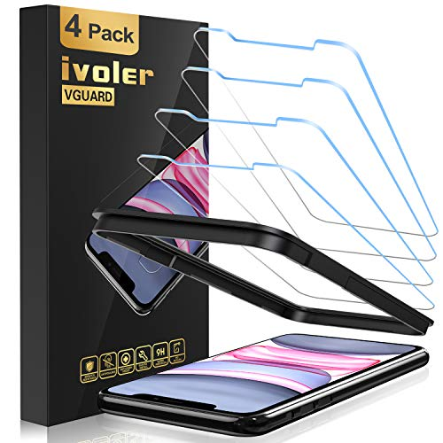 iVoler [4 Pack Pellicola Vetro Temperato per iPhone 11 / iPhone XR 6,1 Pollici [Strumento di Installazione Facile][HD Chiaro], Protezione per Schermo, Pellicola Protettiva iPhone 11 / XR 6.1'