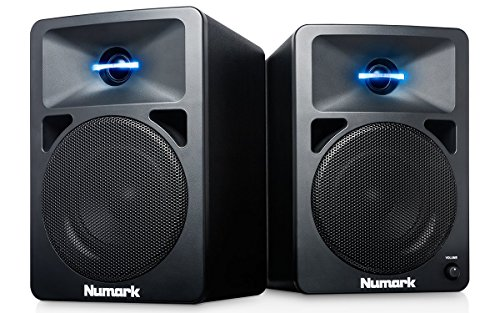 Numark N-Wave 360 - Casse PC Monitor da Tavolo Full Range per DJ, 60 Watt, Tweeter Illuminati LED, Controllo di Volume, Ingressi RCA e Facile Connettivit