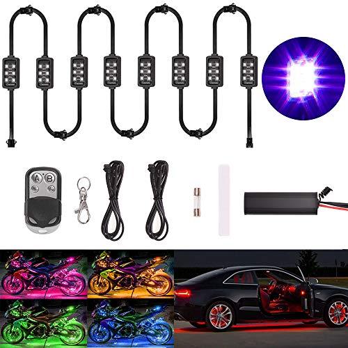 Evermotor Auto Motorrad Unterbodenbeleuchtung 8 Stücke 6 x LED Streifen...