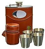 Gentlemans Gifts Online Flasque à Alcool, Coffret Cadeau flasque Whisky 170 ML en Cuir Espagnol et Acier Inoxydable avec Plaque Personnalisable, 4 Verts en Acier et Boite Cadeau