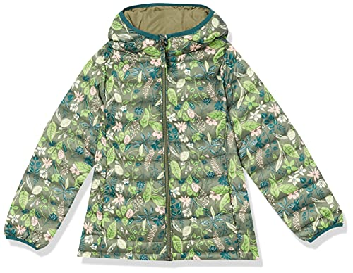 Amazon Essentials Girls' Lightweight Water-Resistant Packable Hooded Puffer Jacket, Green Floral, 2T