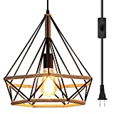 Ganeed Plug in Pendant Light,Industrial Vintage Metal Swag Hanging Light,Farmhouse Chandelier Ceiling Lamp with 16.4ft Hanging Cord and On/Off Switch for Kitchen Island Dining Table Bed-Room