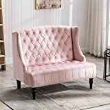 Artechworks Velvet Tufted High Back Loveseat Sofa for Living Room, Bedroom, Home Office, Hosting Room, Wingback Club Chair, Pink